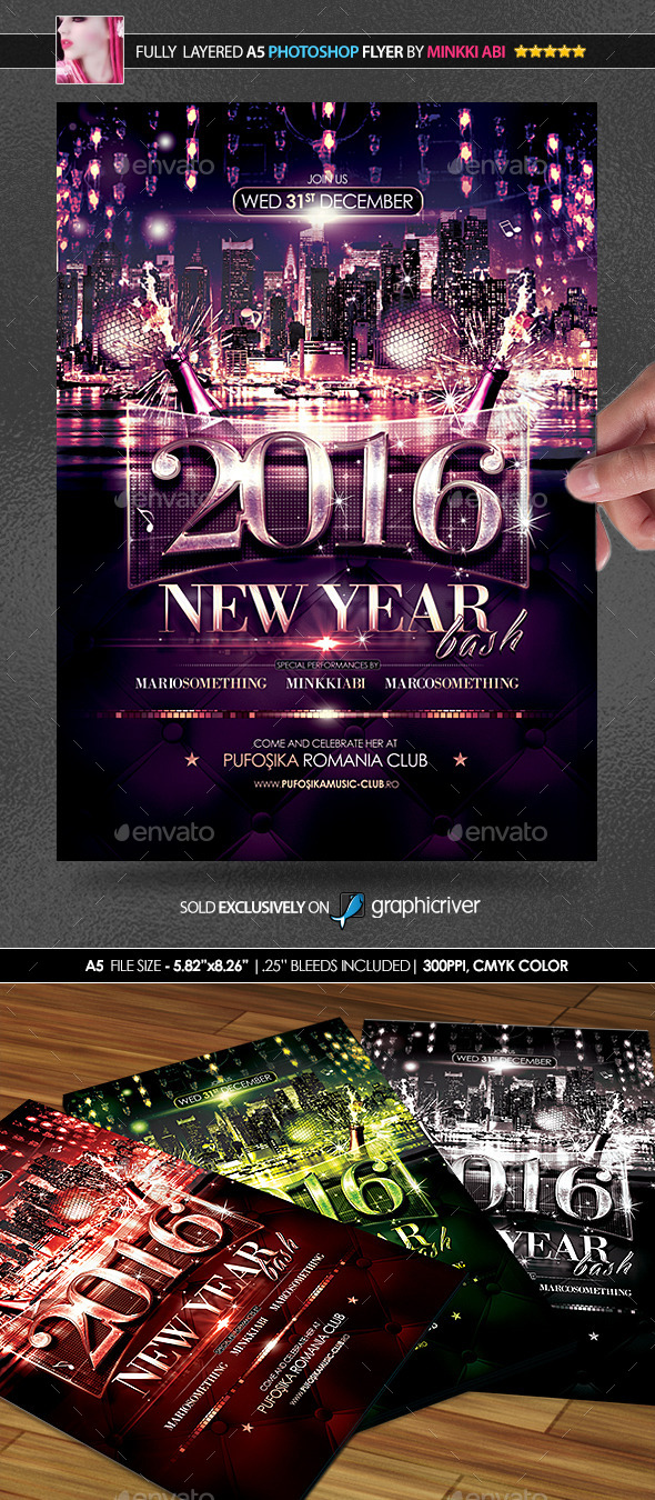 New Year Bash Poster/Flyer - Clubs & Parties Events