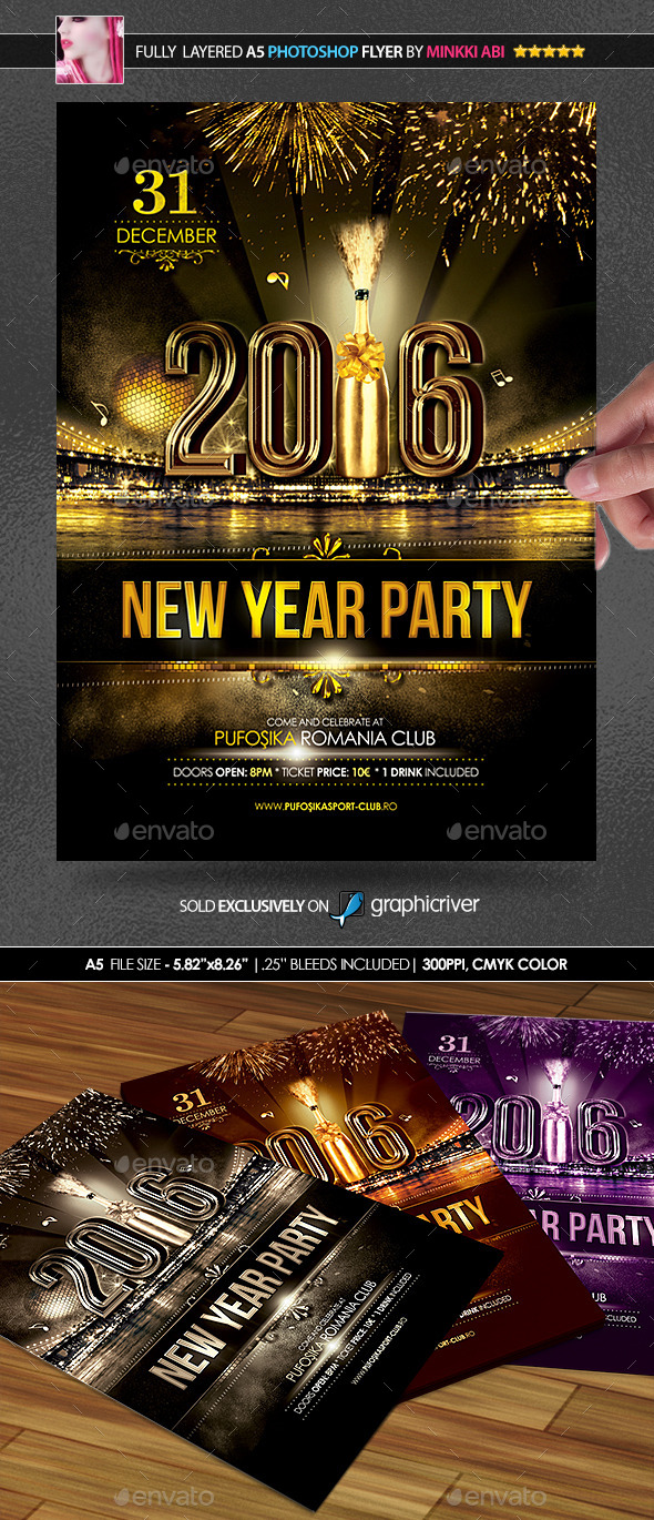 new year party posterflyer holidays events