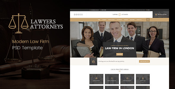 Lawyer Attorneys - Modern Law Firm PSD Template - Business Corporate