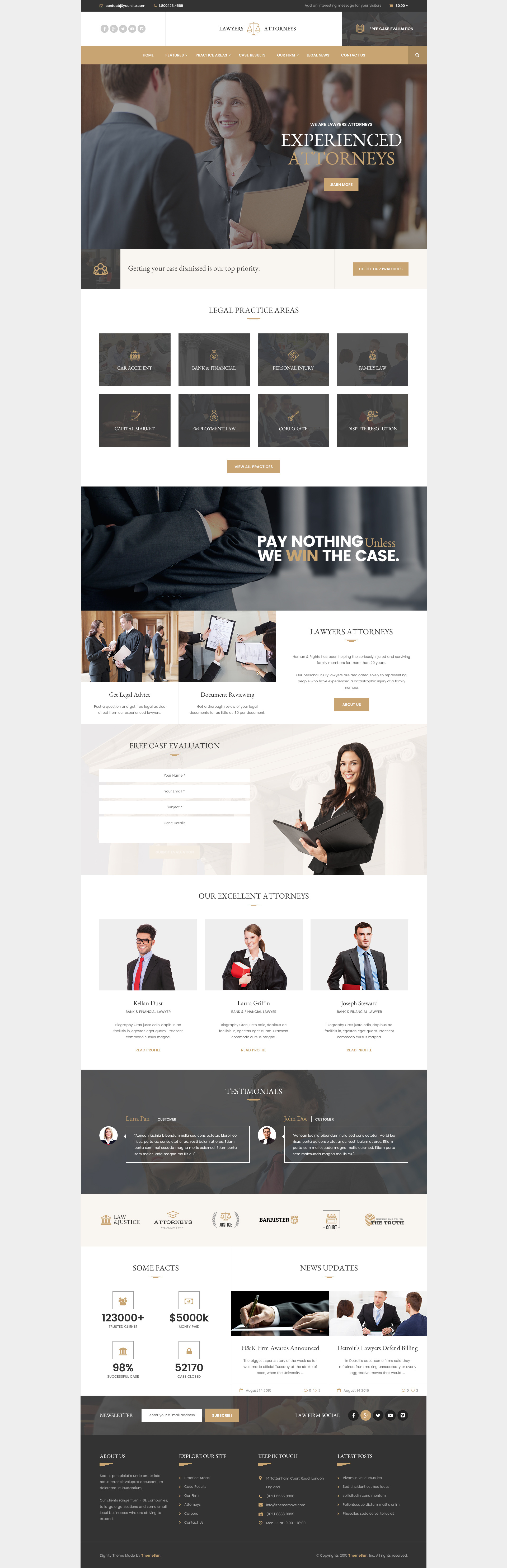 Lawyer Attorneys - Modern Law Firm PSD Template by ThemeSun ...