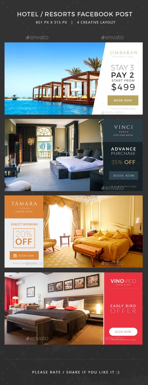 Hotel / Resorts Facebook Post banners - Facebook Timeline Covers Social Media