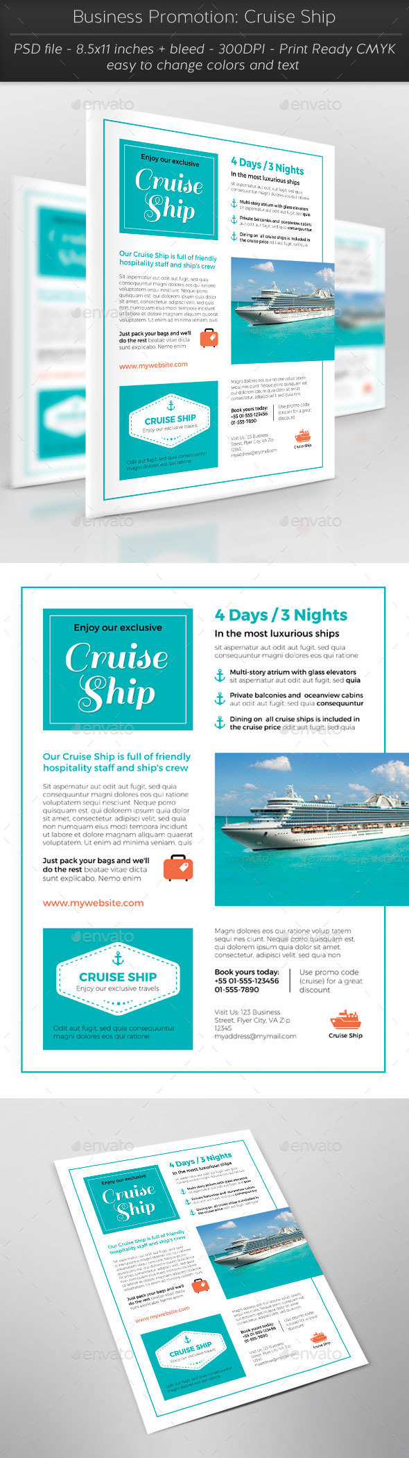 Business Promotion: Cruise Ship - Flyers Print Templates