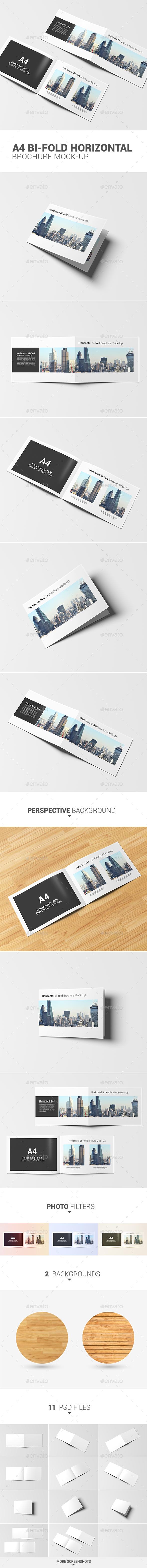 A4 Bi-fold Horizontal Brochure Mock-Up - Product Mock-Ups Graphics