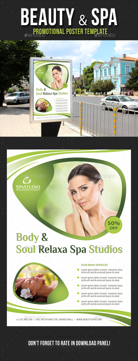 Beauty and Spa Poster Template V03 - Signage Print Templates