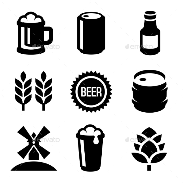Beer Icons Set On White Background. Vector - Food Objects
