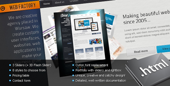 Free Download Web factory - Modern & Unique HTML Template Nulled Latest Version