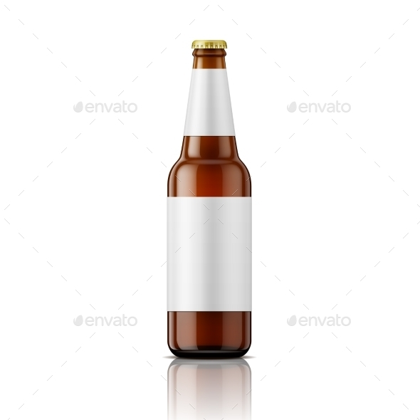 Brown Beer Bottle with Labels Template - Man-made Objects Objects