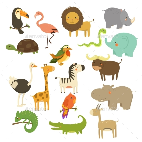 Cute Woodland and Jungle Animals Set - Animals Characters