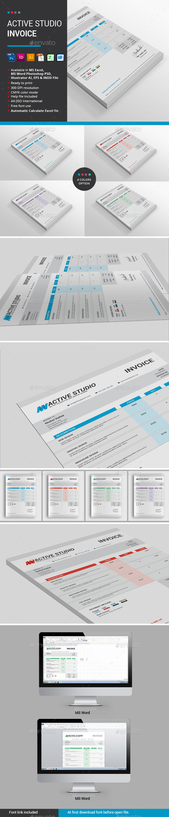 Active Studio Invoice - Proposals & Invoices Stationery