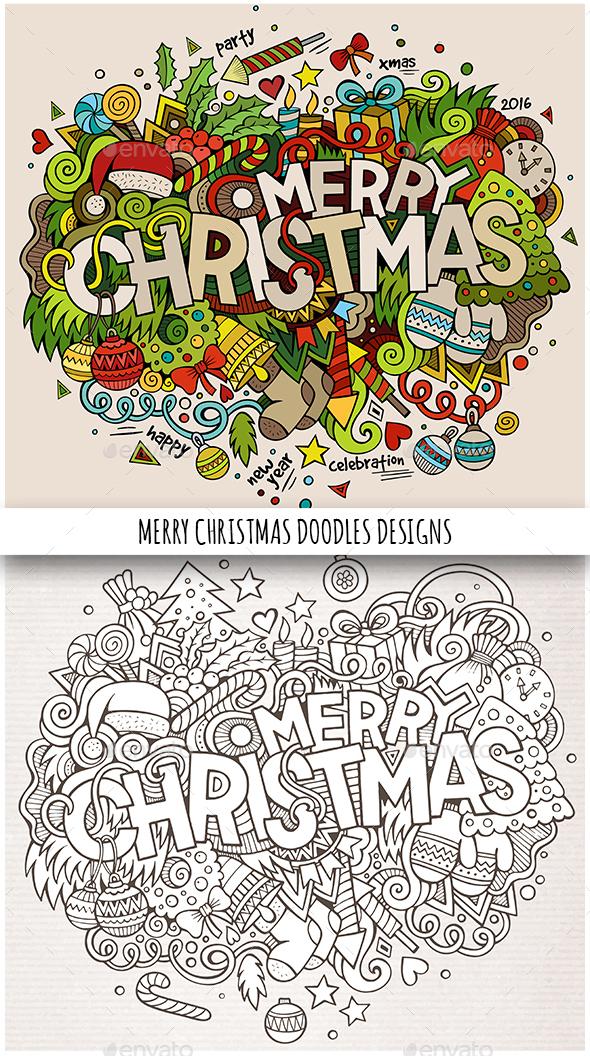 Merry Christmas Doodles Designs - Christmas Seasons/Holidays