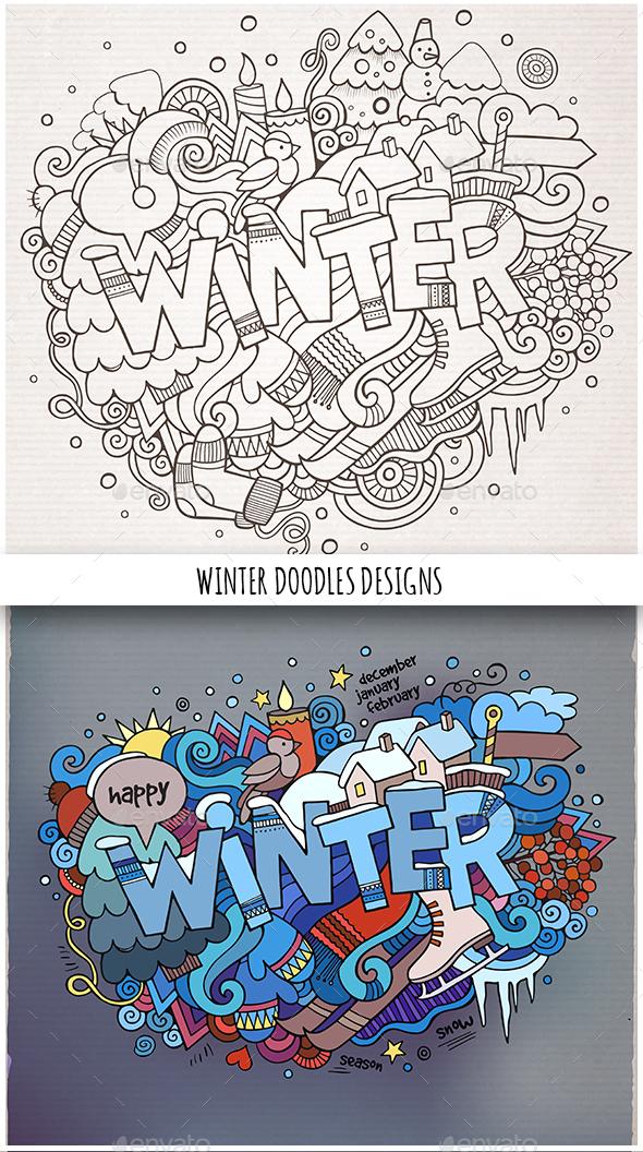2 Winter Doodles Designs - Seasons/Holidays Conceptual