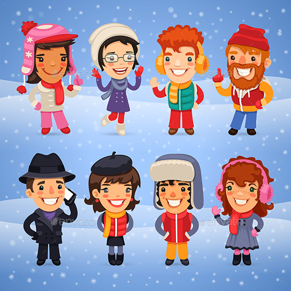 Cartoon Characters in Winter Clothes - People Characters