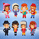 Cartoon Characters in Winter Clothes - GraphicRiver Item for Sale