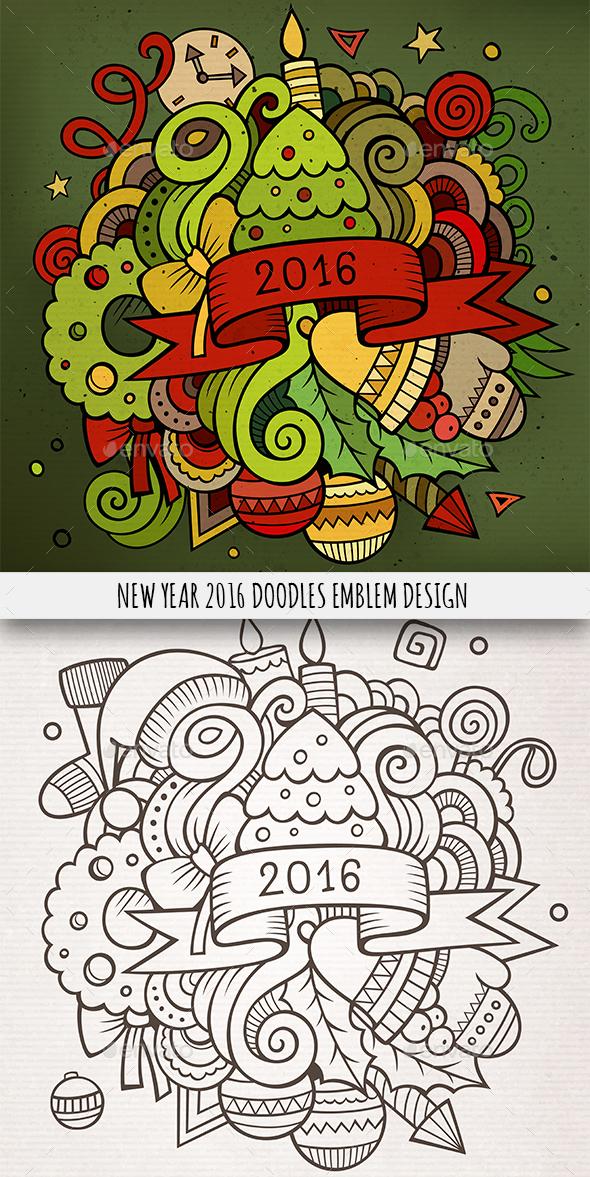 2016 Year Doodles Emblem Design - New Year Seasons/Holidays