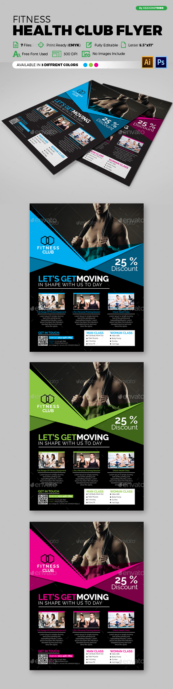 Fitness Health Club Flyer - Flyers Print Templates
