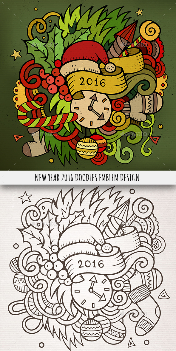 2016 Year Doodles Emblem Design - Christmas Seasons/Holidays