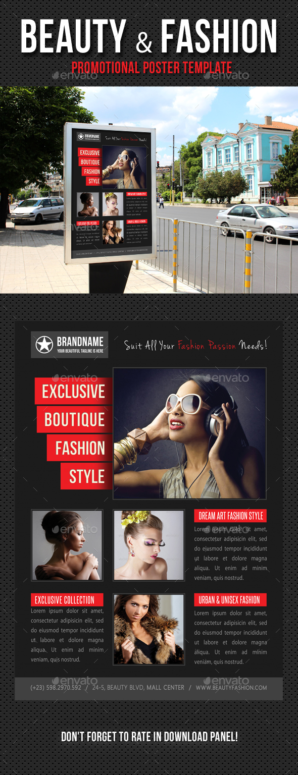 Beauty and Fashion Poster Template V08 - Signage Print Templates