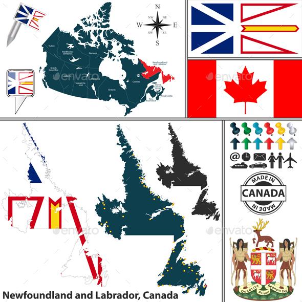 Map of Newfoundland and Labrador, Canada - Travel Conceptual
