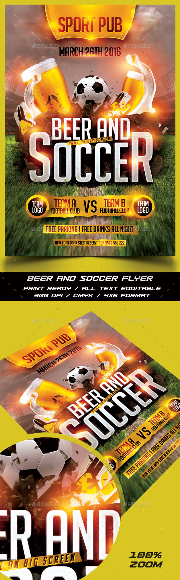 Soccer and Beer Flyer - Sports Events