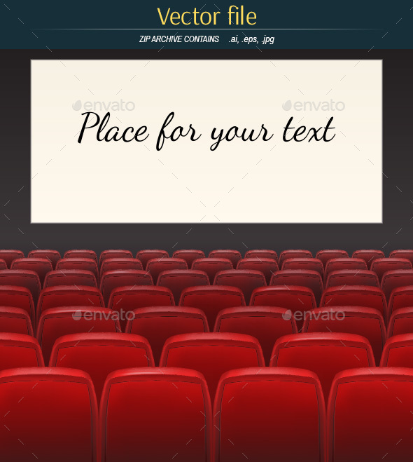 Cinema Hall with Red Chairs and Screen - Backgrounds Decorative