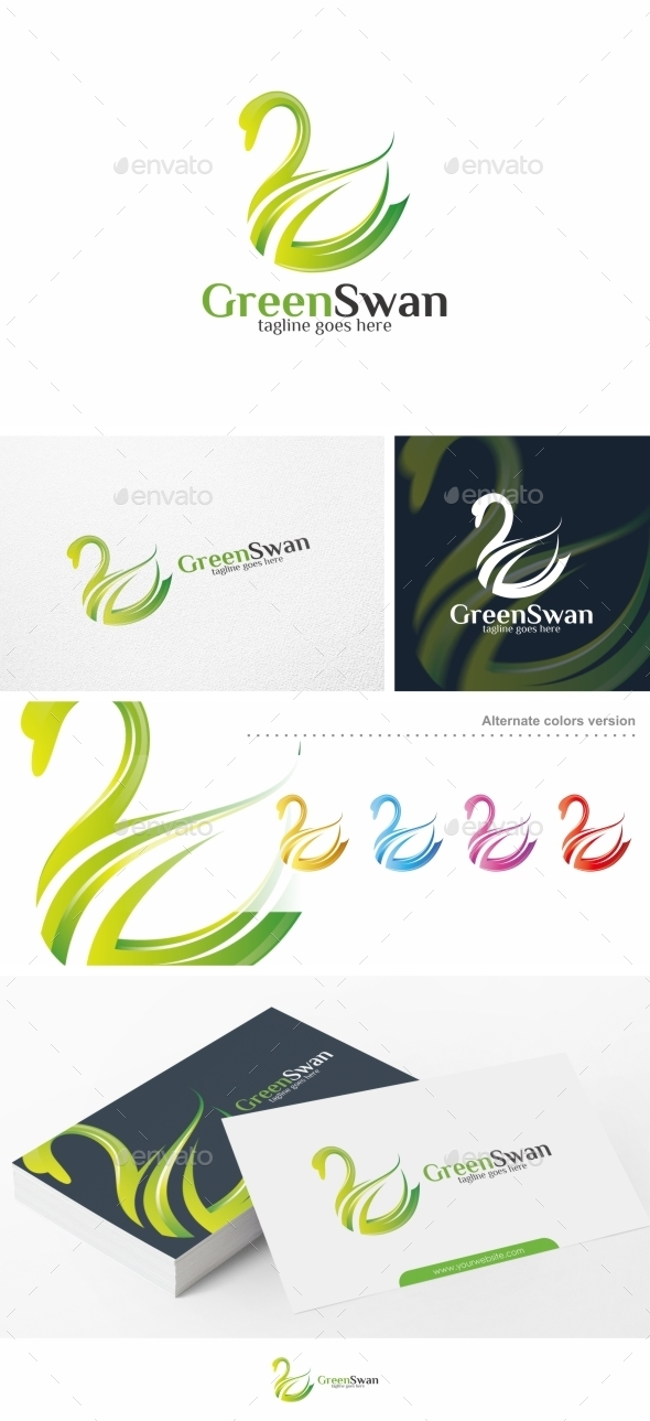 Green Swan - Logo Template - Animals Logo Templates