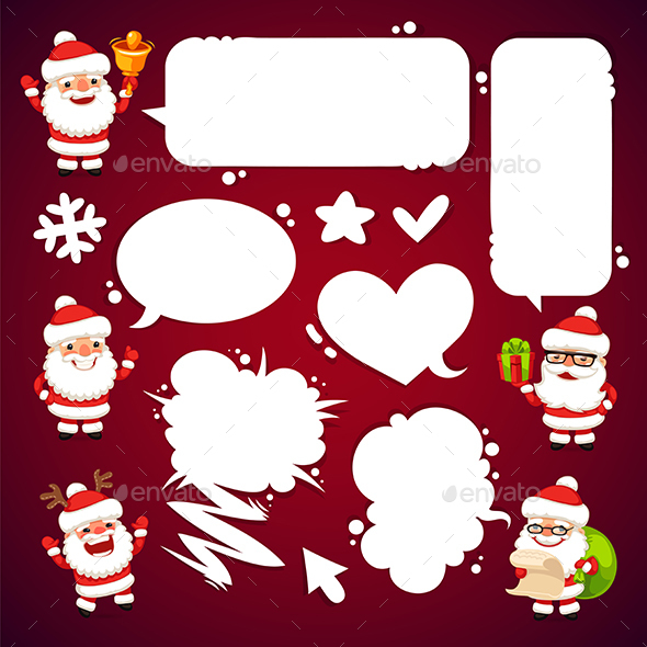 Set of Cartoon Santa Clauses with a Speech Bubbles - Christmas Seasons/Holidays