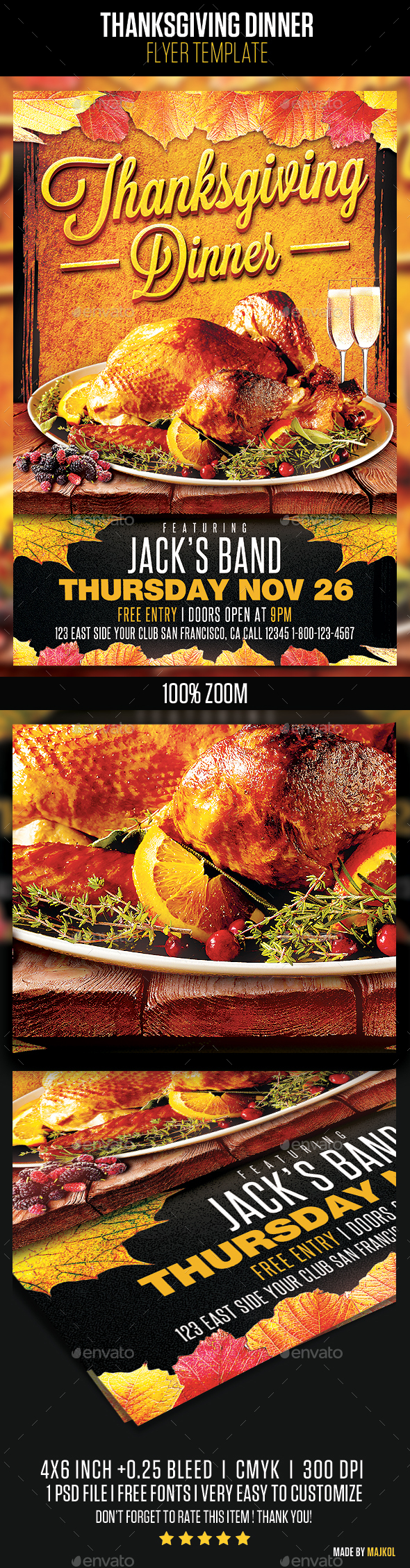 Thanksgiving Dinner Flyer Template - Holidays Events