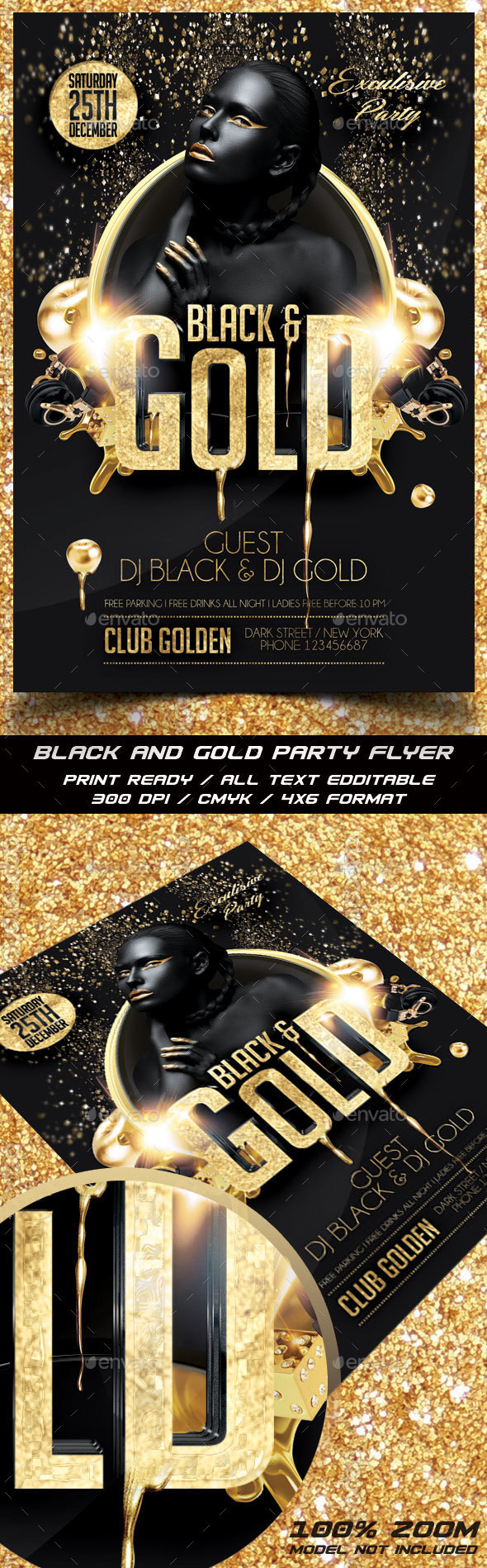 Black and Gold Party Flyer - Events Flyers