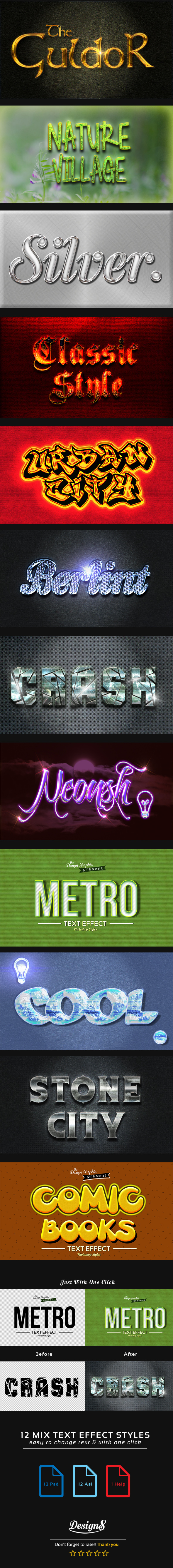 12 Mix Photoshop Styles - Text Effects Styles