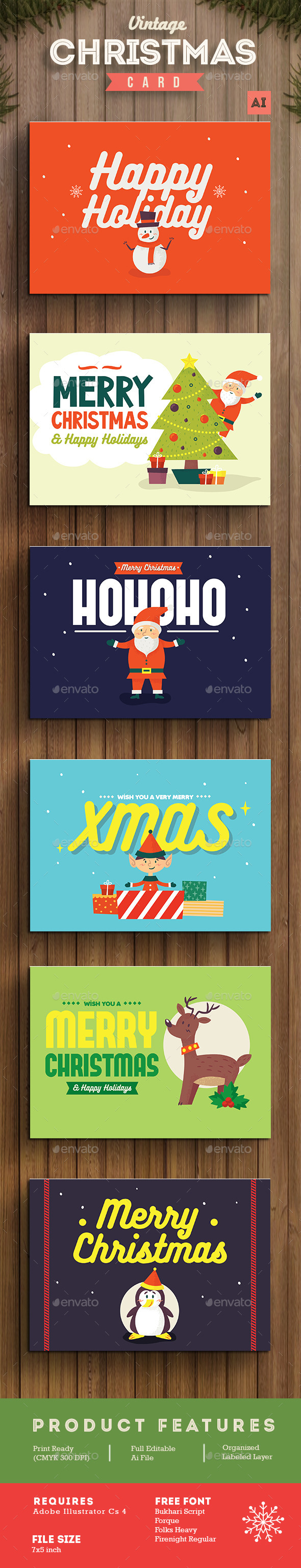 Set of Christmas Card / Background - Holiday Greeting Cards