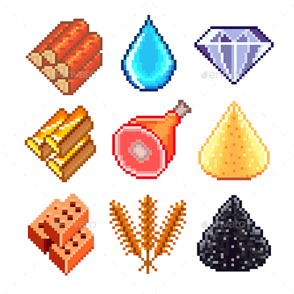 Pixel Resources for Games Icons Set - Organic Objects Objects