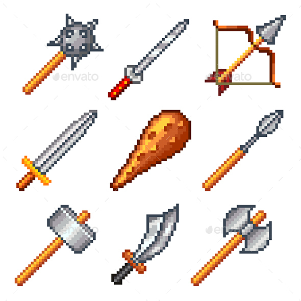 Pixel Weapons for Games Icons Set - Man-made Objects Objects