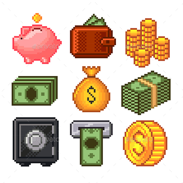 Pixel Money Icons Vector Set - Concepts Business