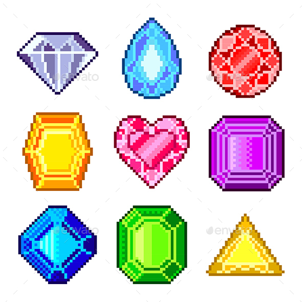 Pixel Gems for Games Icons Vector Set - Man-made Objects Objects