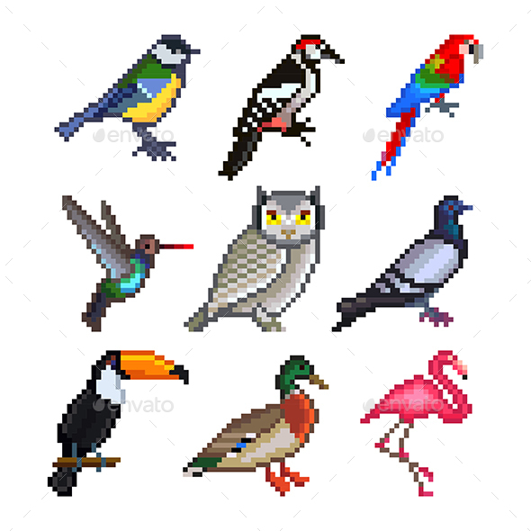 Pixel Birds for Games Icons Vector Set - Animals Characters