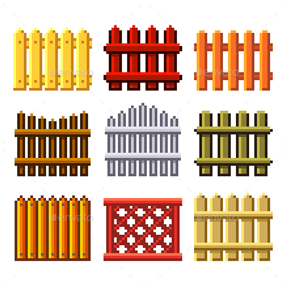 Pixel Fences for Ggames Icons Vector Set - Man-made Objects Objects