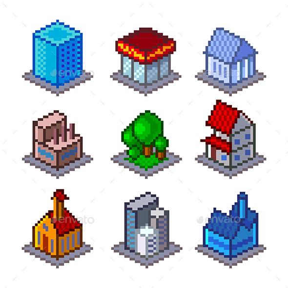 Pixel Isometric City Buildings - Buildings Objects