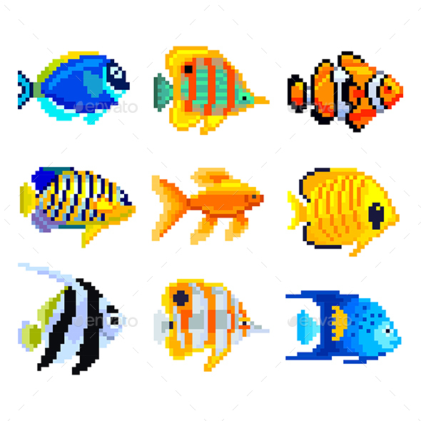 Pixel Exotic Fish for Games Icons Vector Set - Animals Characters