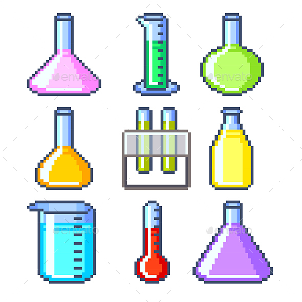 Pixel Flasks and Test Tubes Icons Vector Set - Health/Medicine Conceptual