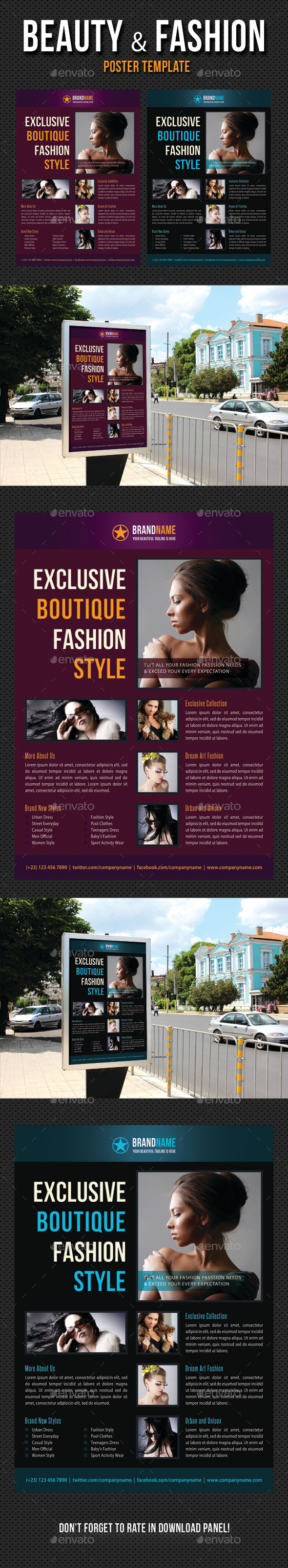 Beauty and Fashion Poster Template V09 - Signage Print Templates