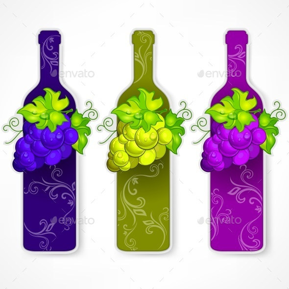 Bottle Wine with Grapes and Pattern  - Food Objects