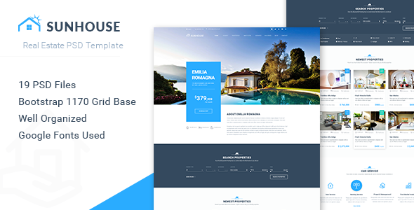 SunHouse – Real Estate PSD Template