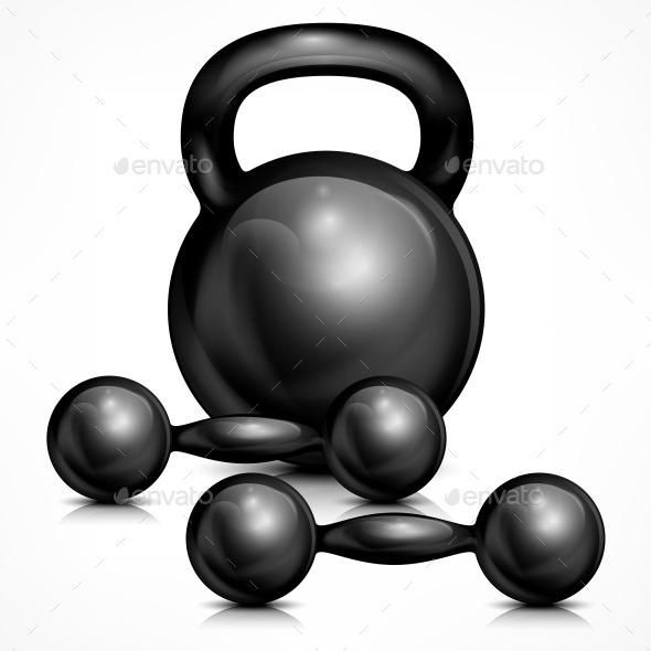 Metallic Kettle Bell and Two Dumbbells - Landscapes Nature