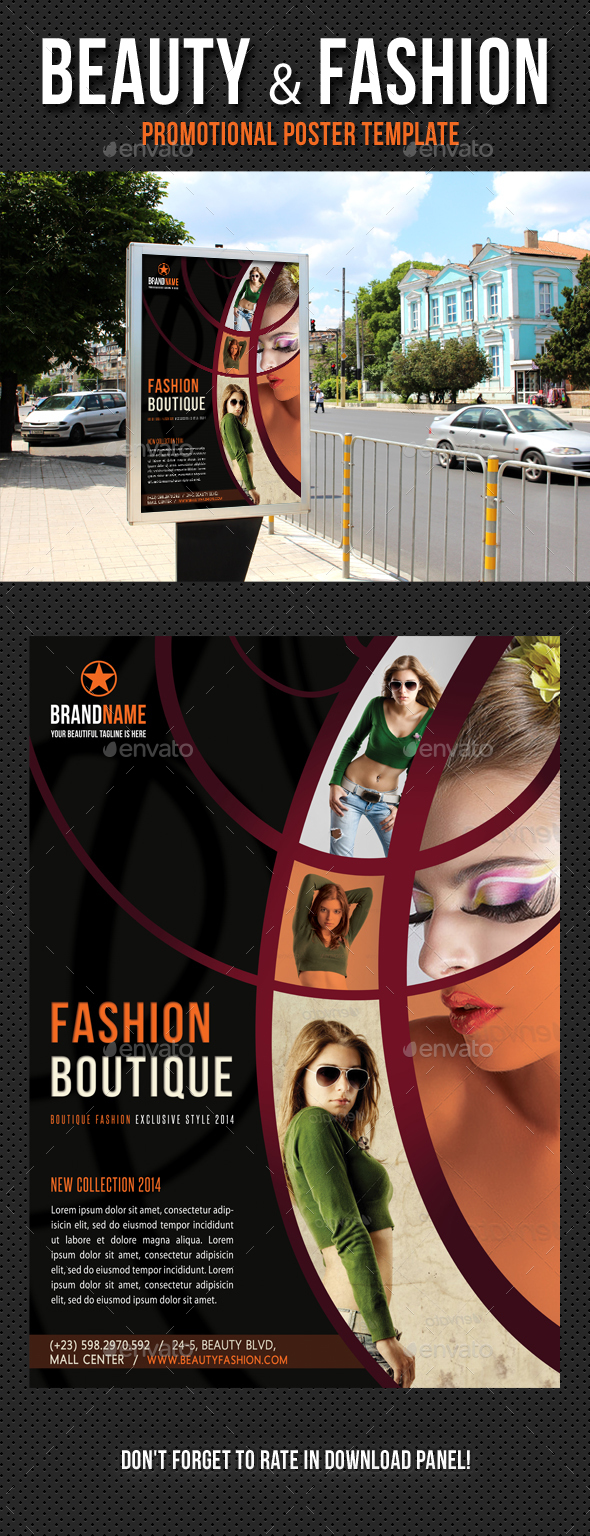 Beauty and Fashion Poster Template V11 - Signage Print Templates