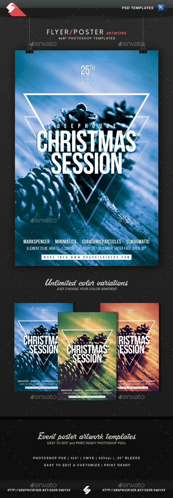 Christmas Session - Minimal Party Flyer Template - Clubs & Parties Events