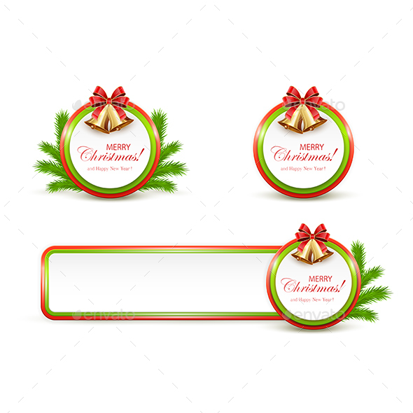 Set of Christmas Banners with Golden Bells - Christmas Seasons/Holidays