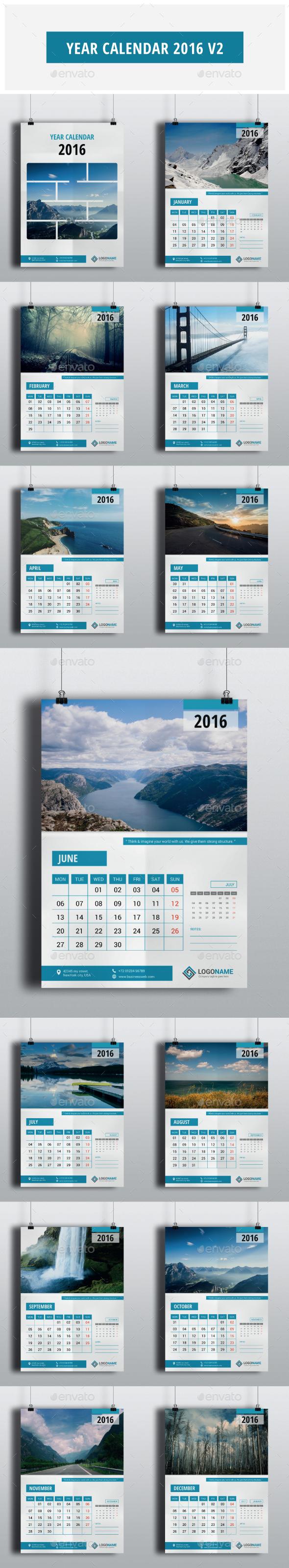 Year Calendar 2016 V2 - Calendars Stationery