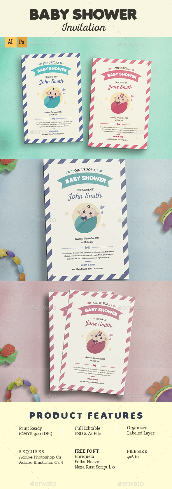 Baby Shower Invitation - Cards & Invites Print Templates