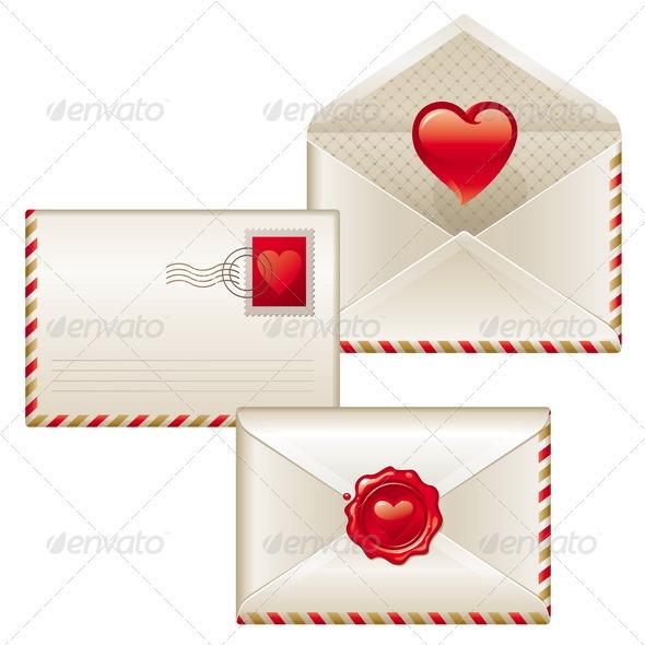 Three love letters - Valentines illustration - Valentines Seasons/Holidays