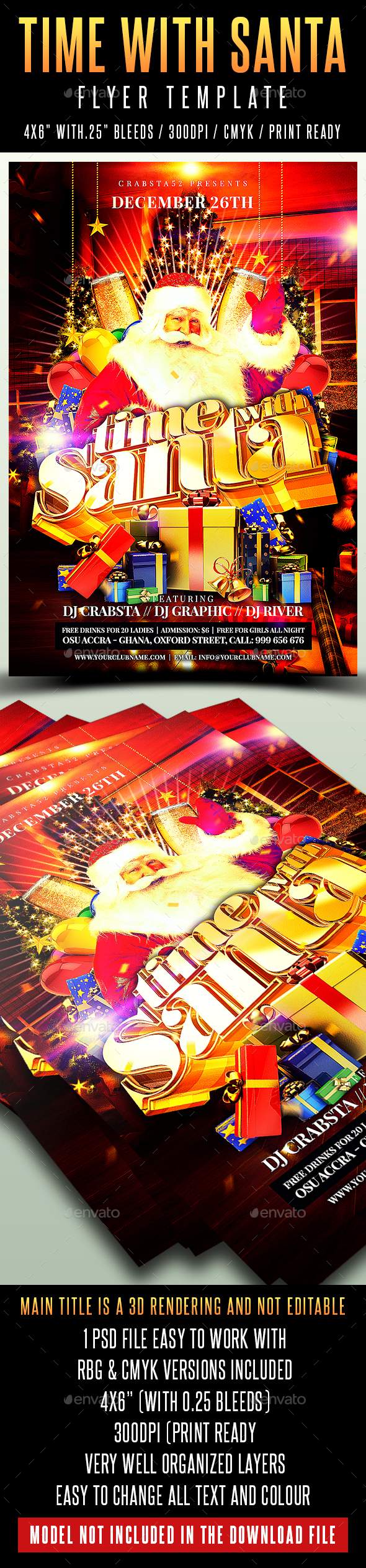 Time With Santa Flyer Template - Holidays Events